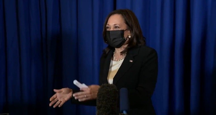 Kamala Harris Awkwardly Laughs, Then Snaps at Reporter Asking When She Will Visit Border (VIDEO)