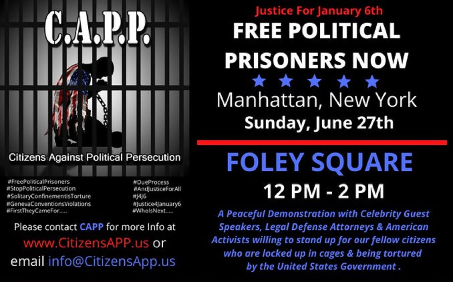 Citizens Against Political Persecution to Hold Protest for January 6 Prisoners in New York