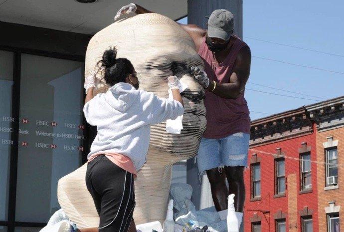 NYPD Hate Crime Task Force Investigating Vandalism of George Floyd Statue