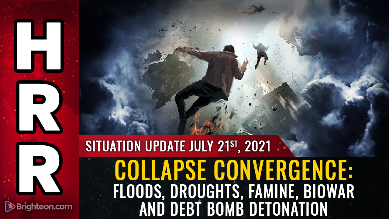 """Image: Collapse convergence: Floods, droughts, famine, vaccine biowar and global fiat currency implosion… they're """"stacking"""" them for maximum devastation"""