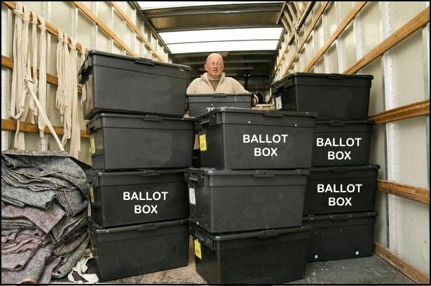 """Image: Video footage shows """"ballot traffickers"""" stuffing GA ballot boxes with backpacks full of ballots"""