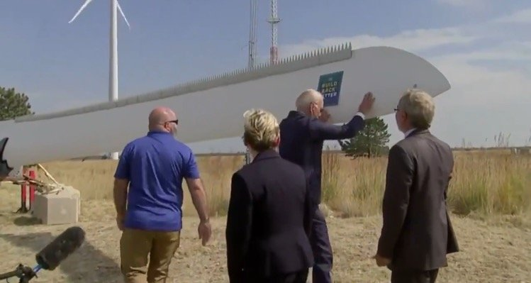 """""""Watch Your Foot!"""" – Joe Biden Loses His Footing While Shaking a Giant Windmill Blade in Colorado (VIDEO)"""